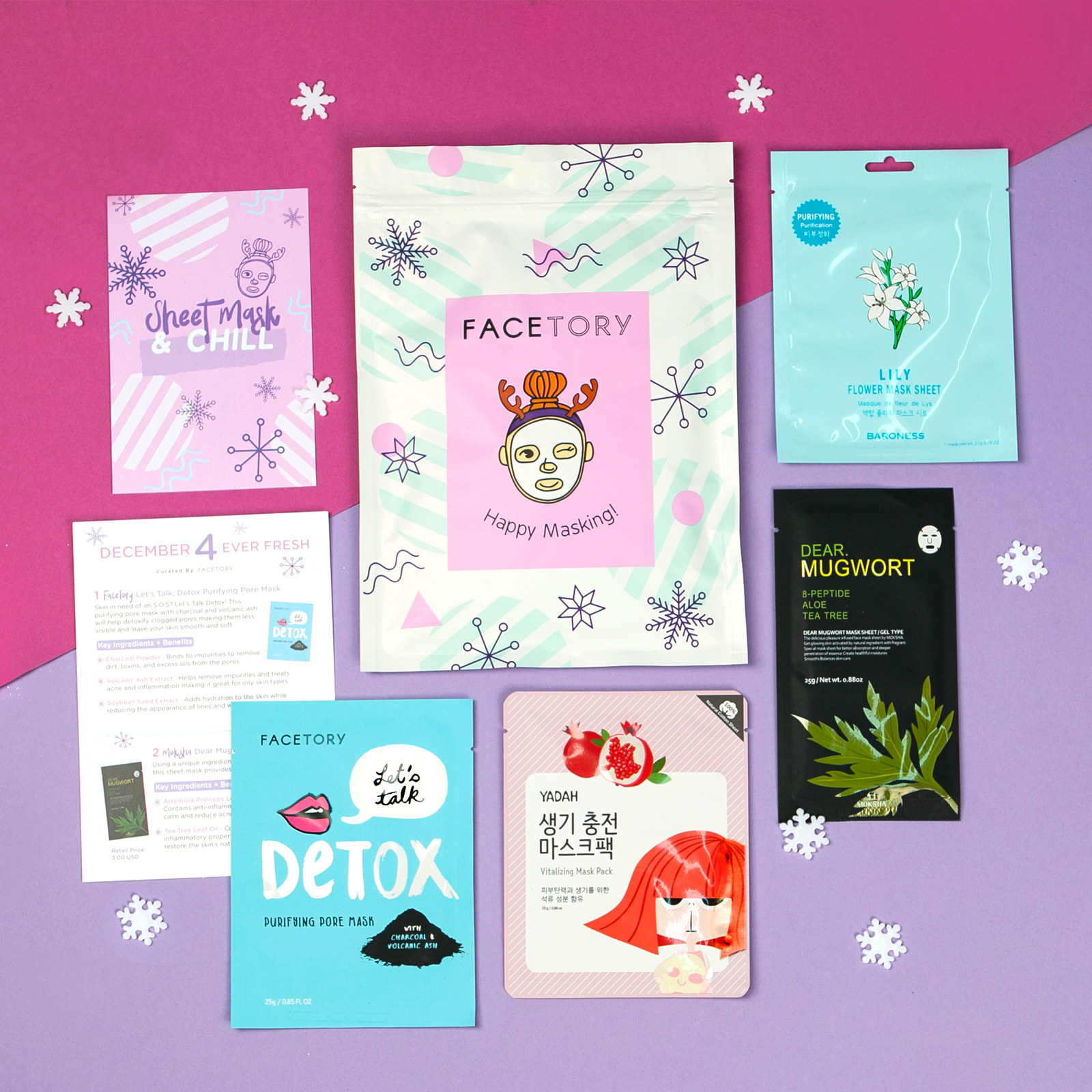 Flatlay with Facetory packaging, instructions sheet, and four face masks.