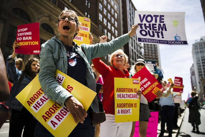 Women's rights advocates in Philadelphia demonstrate against recent abortion bans.