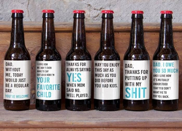 f87338cd8 A set of LOL-worthy beer bottle labels, because the only thing your dad  would love more than a cold beer at the end of a long day is a cold beer ...