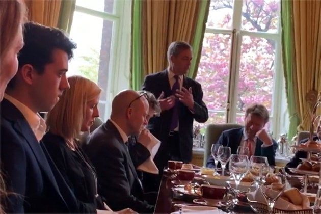 New Video Shows Nigel Farage Courting Fringe Right-Wing Figures At A Private Tea Party Hosted At The Ritz