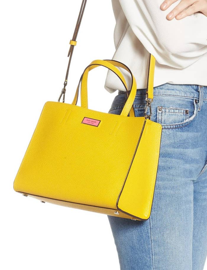 772416437 A Kate Spade leather satchel available in a bunch of spring-ready hues. If  your entire wardrobe is black (and you intend on keeping it that way), ...
