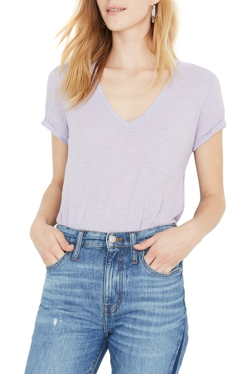 1e26296202f 1. A Madewell V-neck tee made from a lightweight cotton material that won t  cling to the sweaty crevices of your skin every time humidity decides to  make an ...