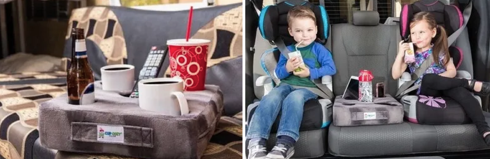 Pillow caddy in backseat of car between two carseats holding bottles and tablet