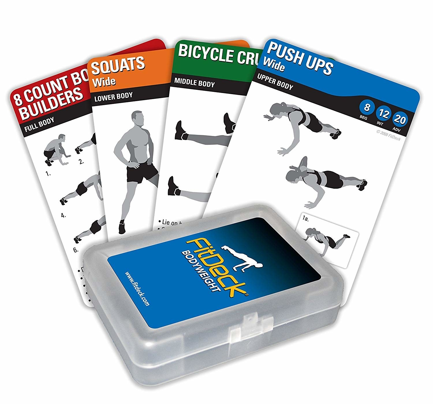 deck of workout cards with various routines like push ups and squats