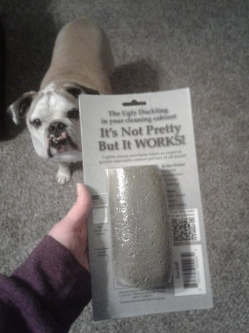 reviewer holds up grey stone in packaging that says