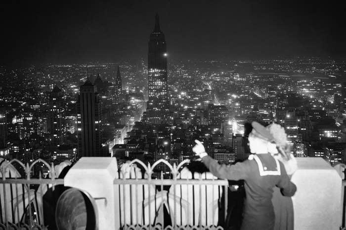 A sailor on top of the RCA Building in Rockefeller Center, Nov. 1, 1943.