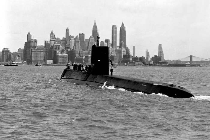 The USS Nautilus, the first nuclear-powered submarine, enters New York Harbor, May 1956.