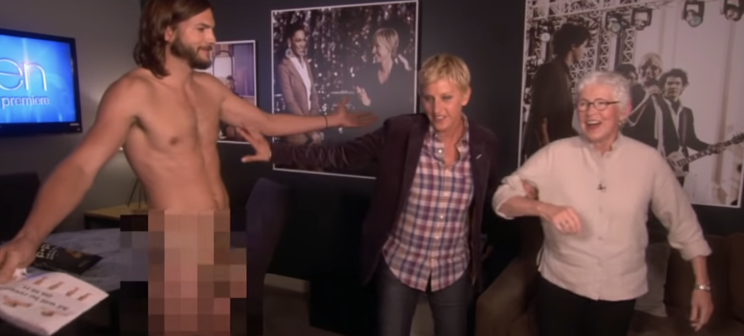 Ashton Kutcher Gets Nude For Ellen
