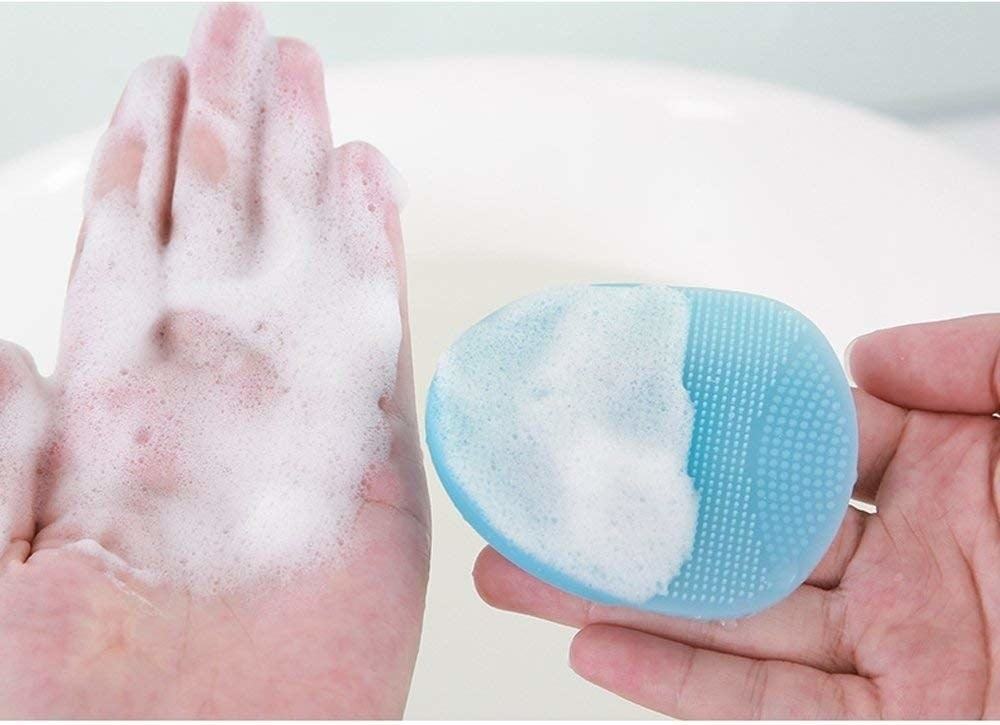 the product creating suds as its rubbed against the skin