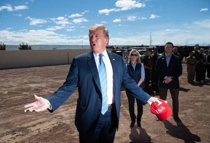 President Donald Trump tours the US–Mexico border, April 5, 2019.