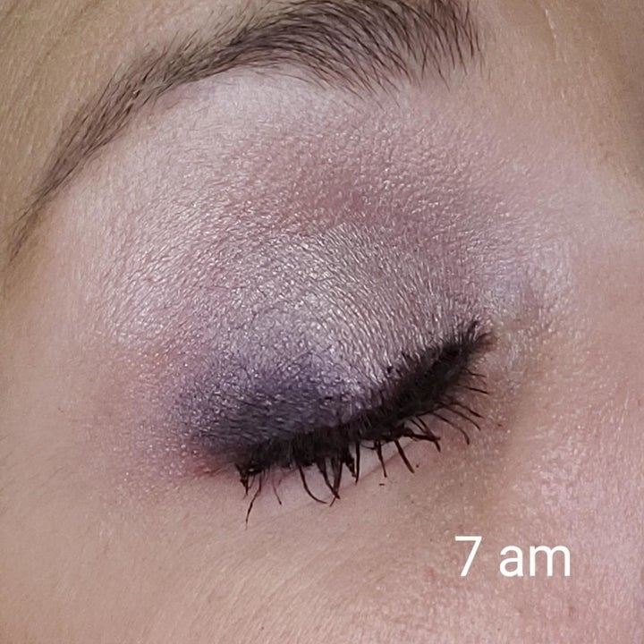 reviewer showing their eyeshadow at 7am
