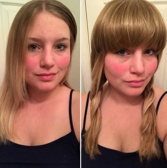 A before and after of a reviewer wearing the bangs and the bangs color match well and look real