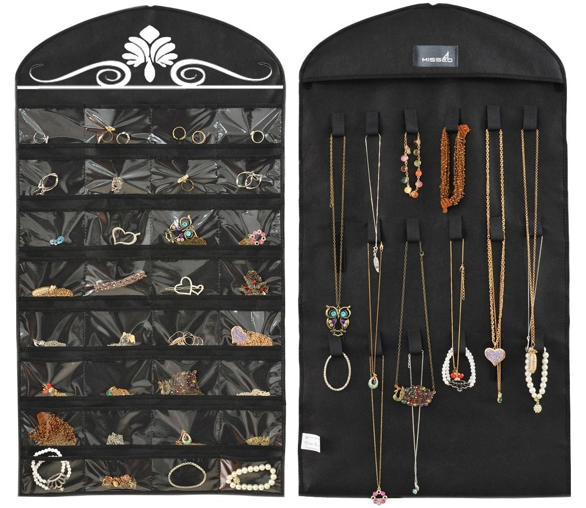 the black organizer holding various piece of jewelry