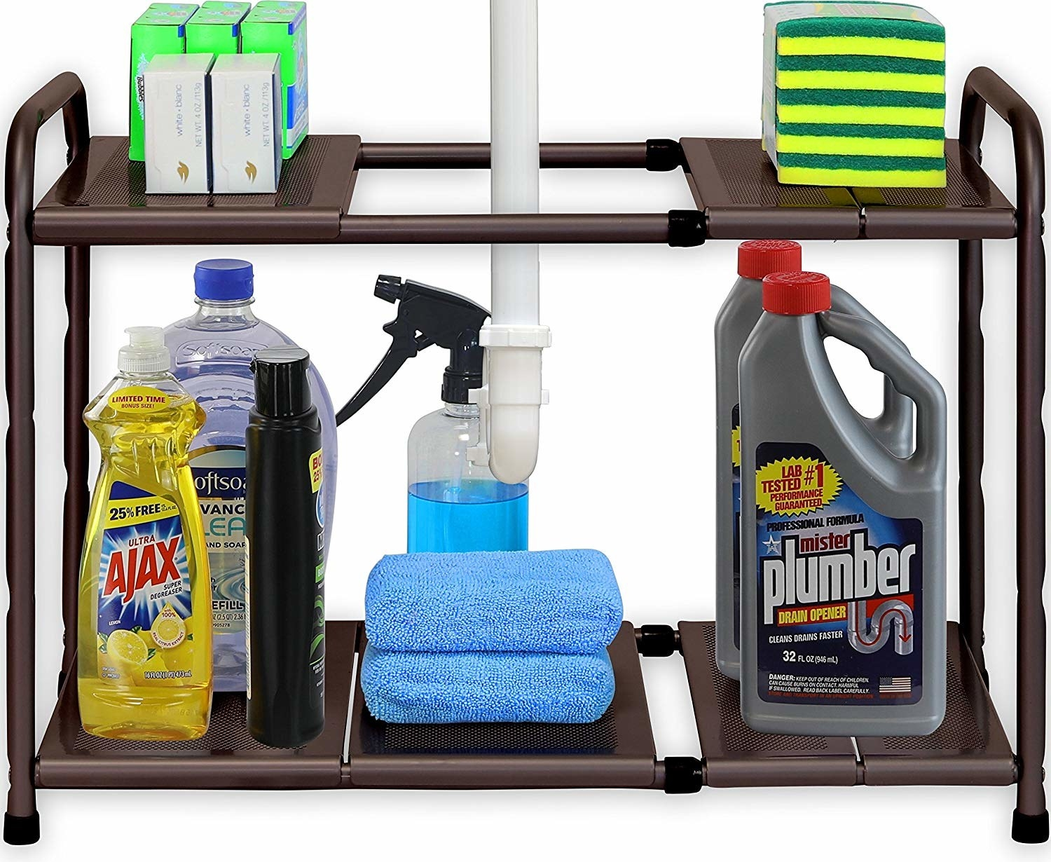 the brown rack holding cleaning products