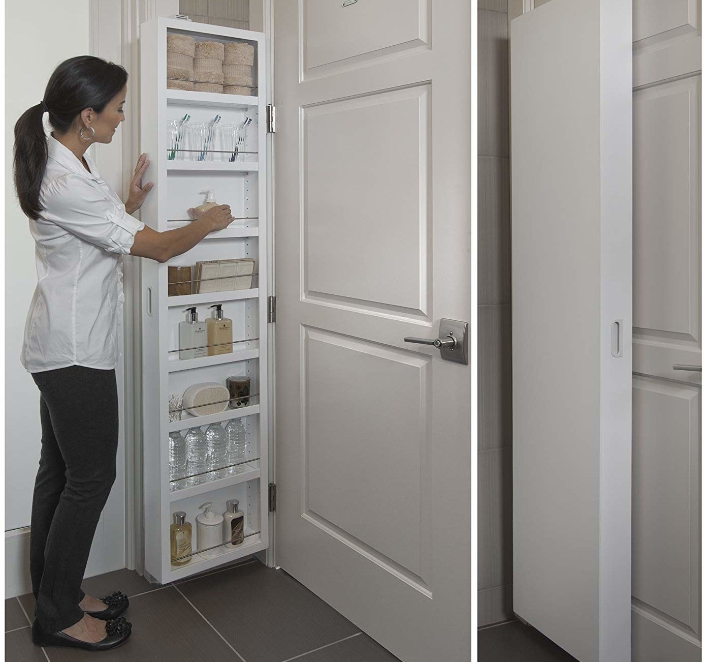 person opening the storage cabinet