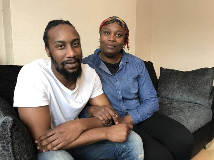 Shannoy McLeod at home in south London with his mother Andrene Madden