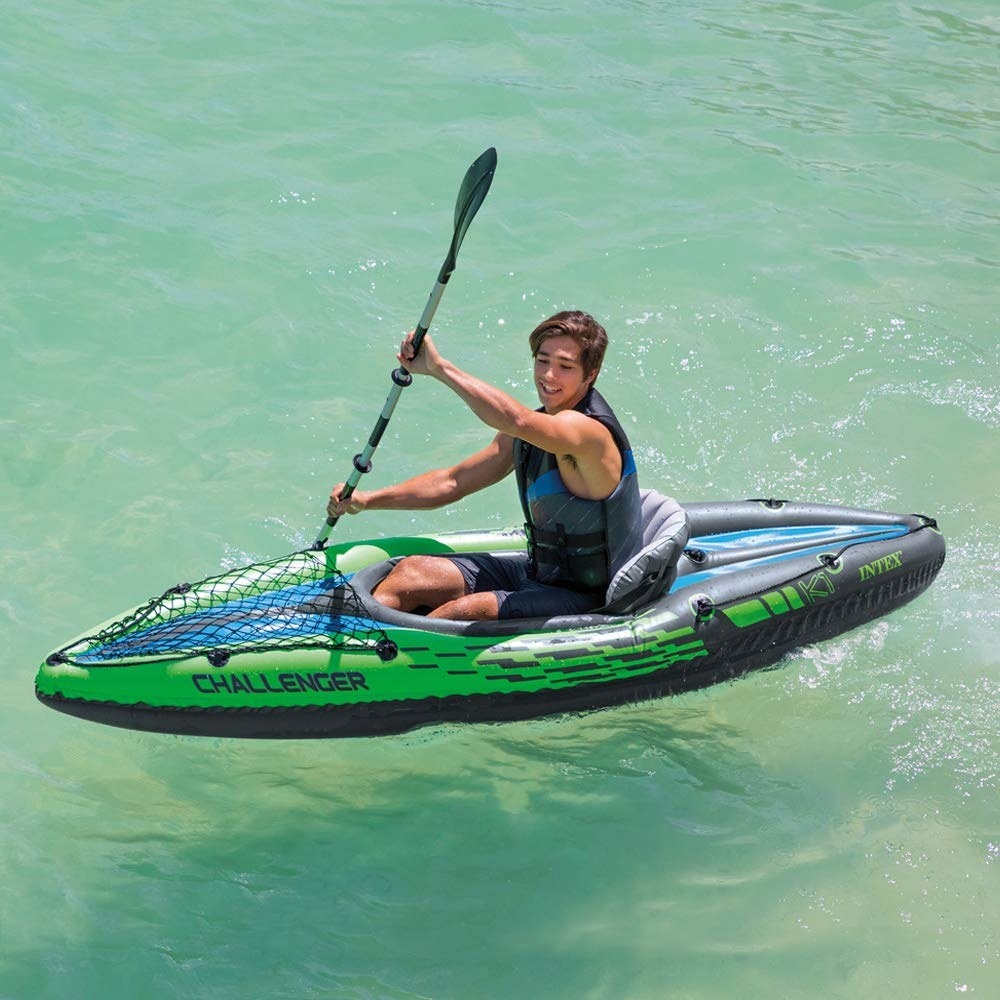 A one-person inflatable kayak with aluminum oars