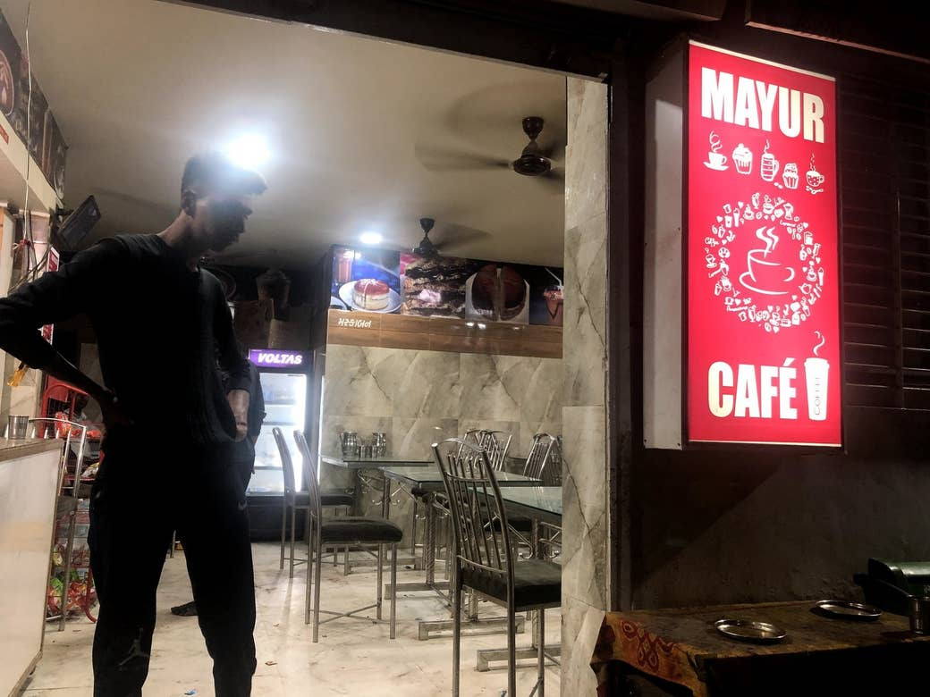 Mayur Cafe in Juhapura, a popular spot where PUBG players gather to play after dark.