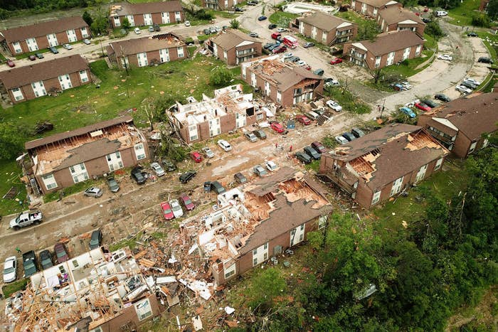 Debris from destroyed homes after a tornado touched down overnight in Jefferson City, Missouri, on May 23.