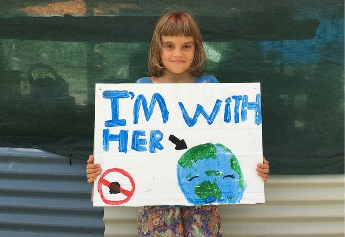 Clem, 12, at a climate protest in Cairns, Australia