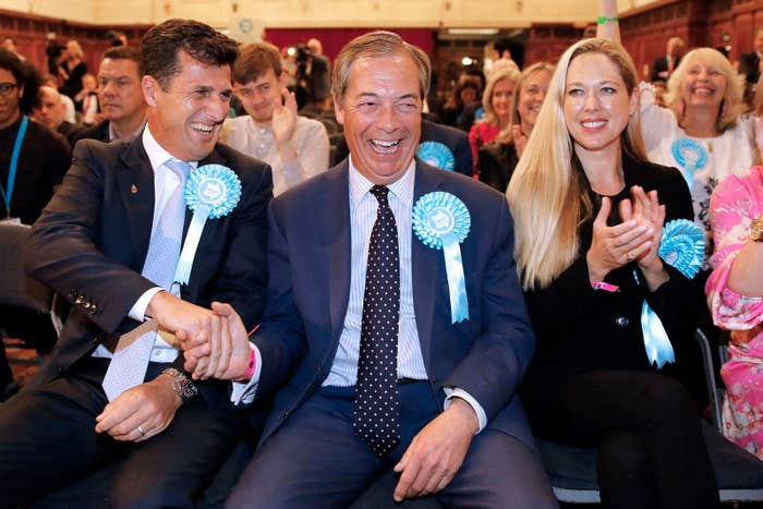 Brexit Party leader Nigel Farage celebrates a night of victory.