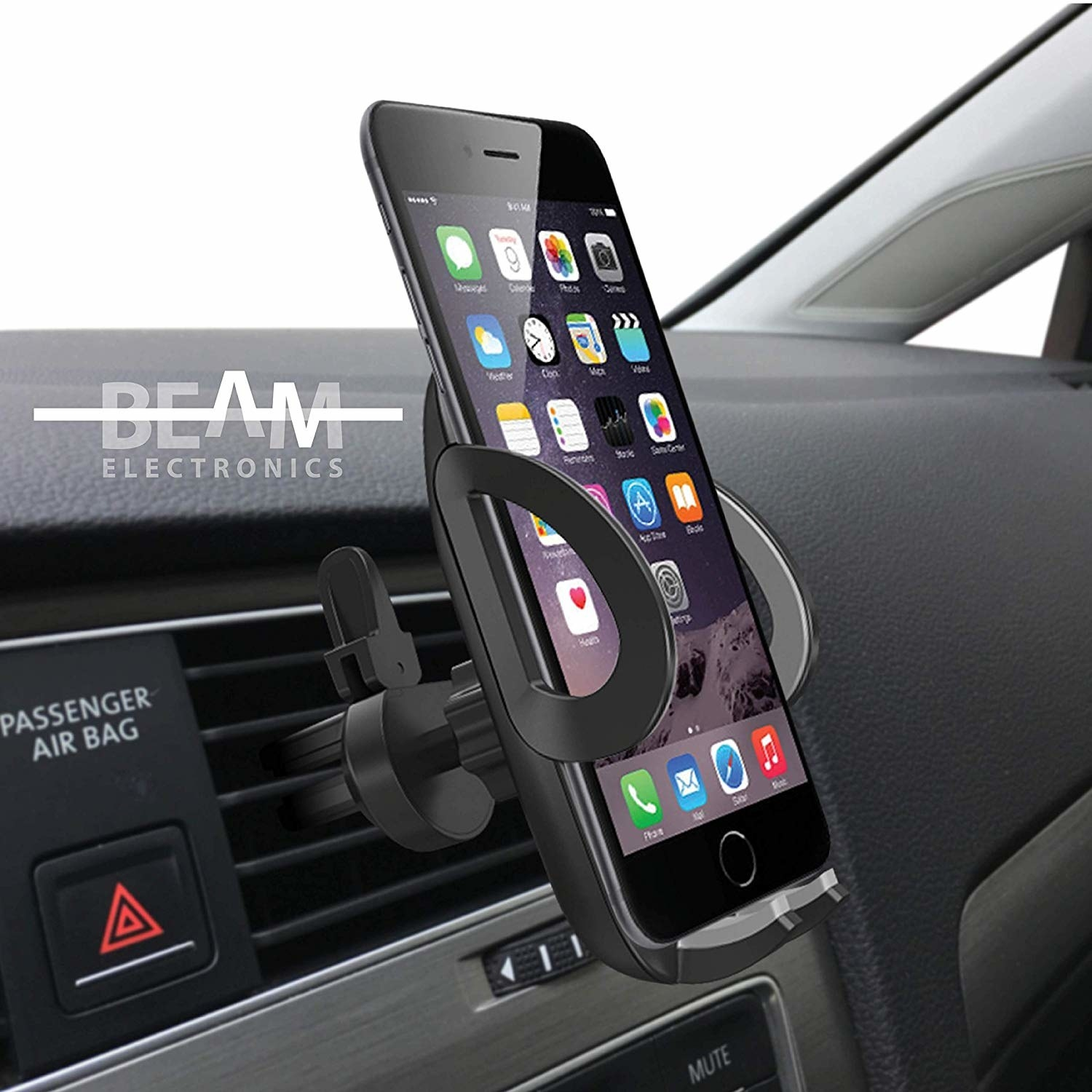 The smartphone mount holding an iPhone clipped into the air vent in a car