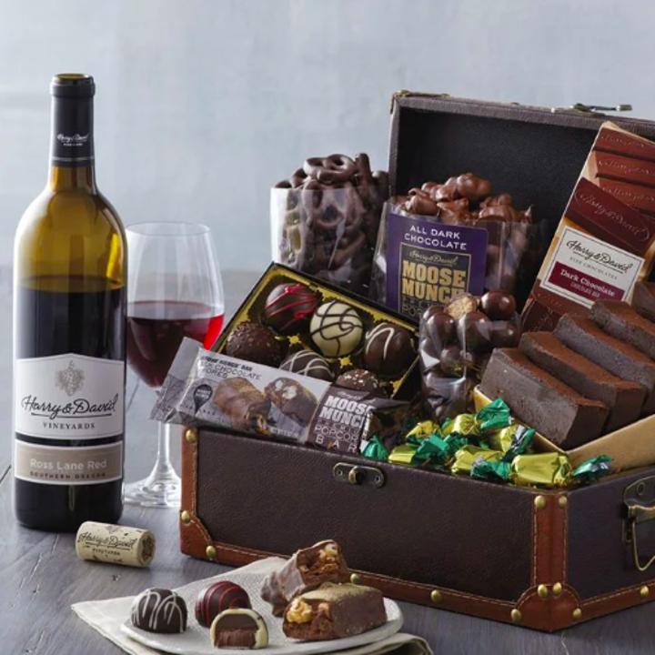 Harry & David's Chocolate Treasure Box with wine