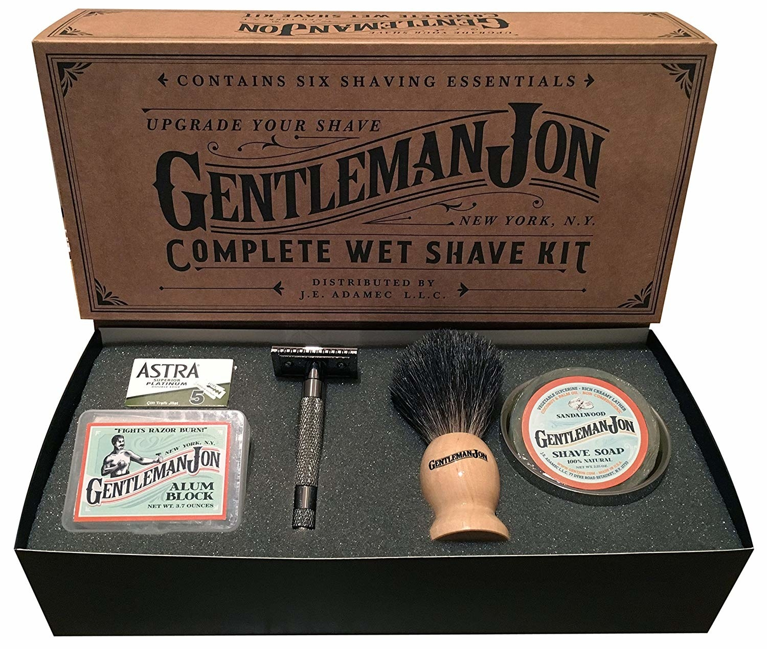 Gentleman Jon Complete Wet Shave Kit box with everything included in the box in front of it