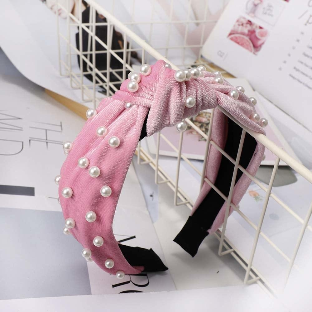 The beaded headband in pink