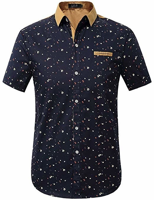 Men's navy printed button-down short-sleeved shirt with tan collar and tan and white specks on it