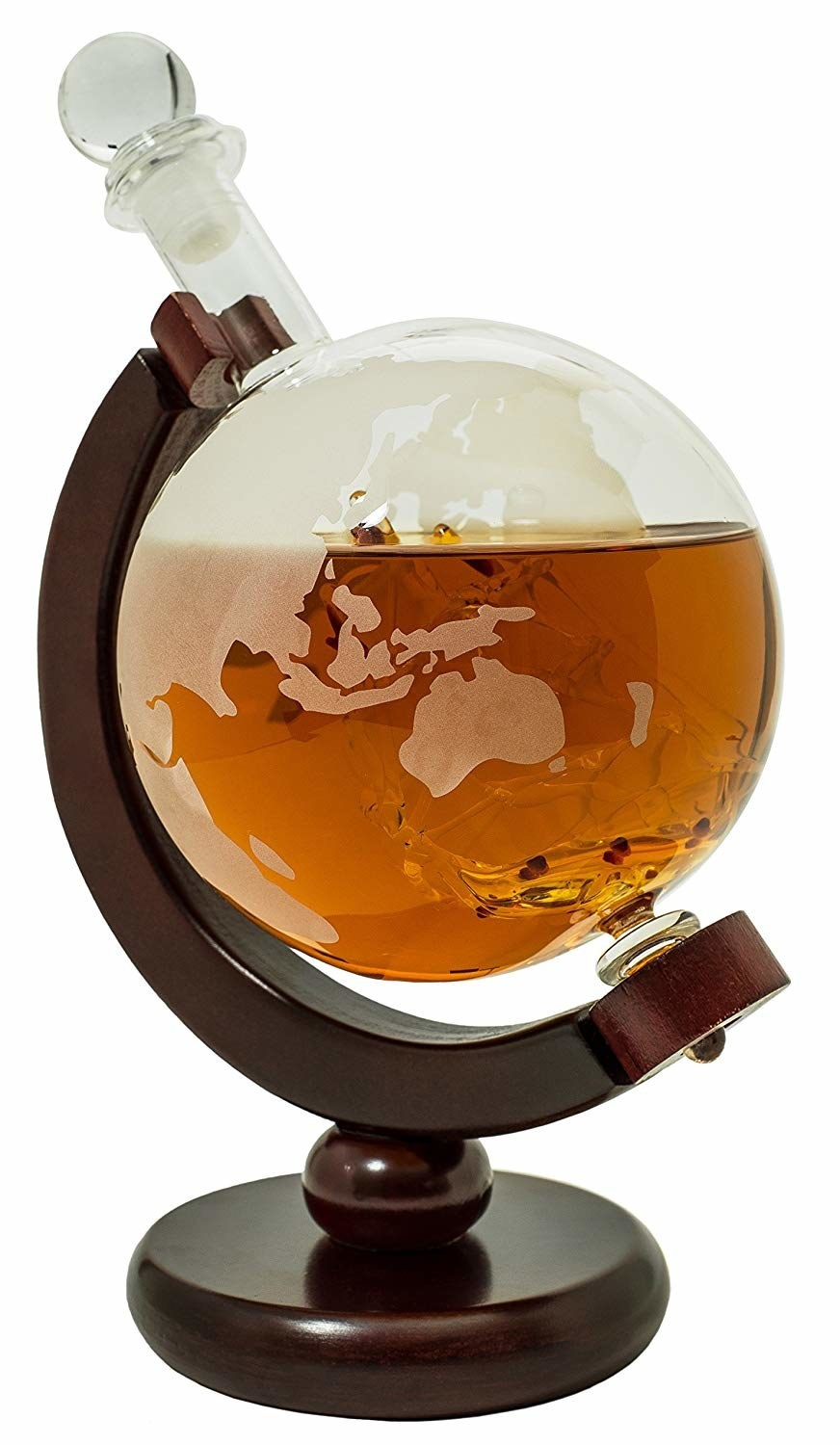 Closeup of Whiskey decanter that looks like a globe on a stand