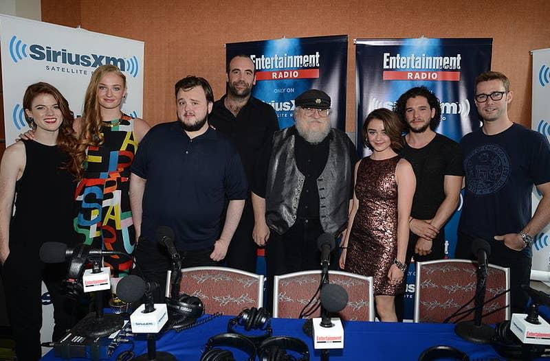 Sophie Turner, Rose Leslie, John Bradley (Samwell Tarly), Rory McCann (The Hound), George R.R. Martin, Maisie Williams, and Kit Harington.