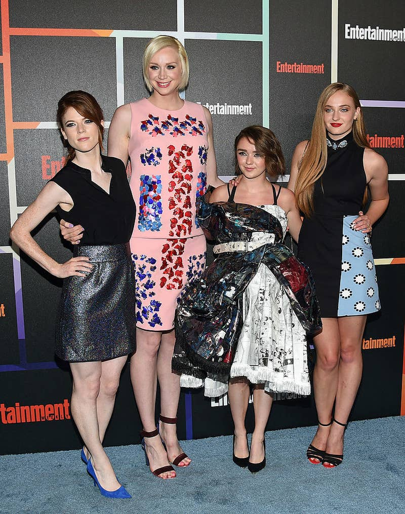Rose Leslie (Ygritte), Gwendoline Christie (Brienne of Tarth), Maisie Williams, and Sophie Turner.