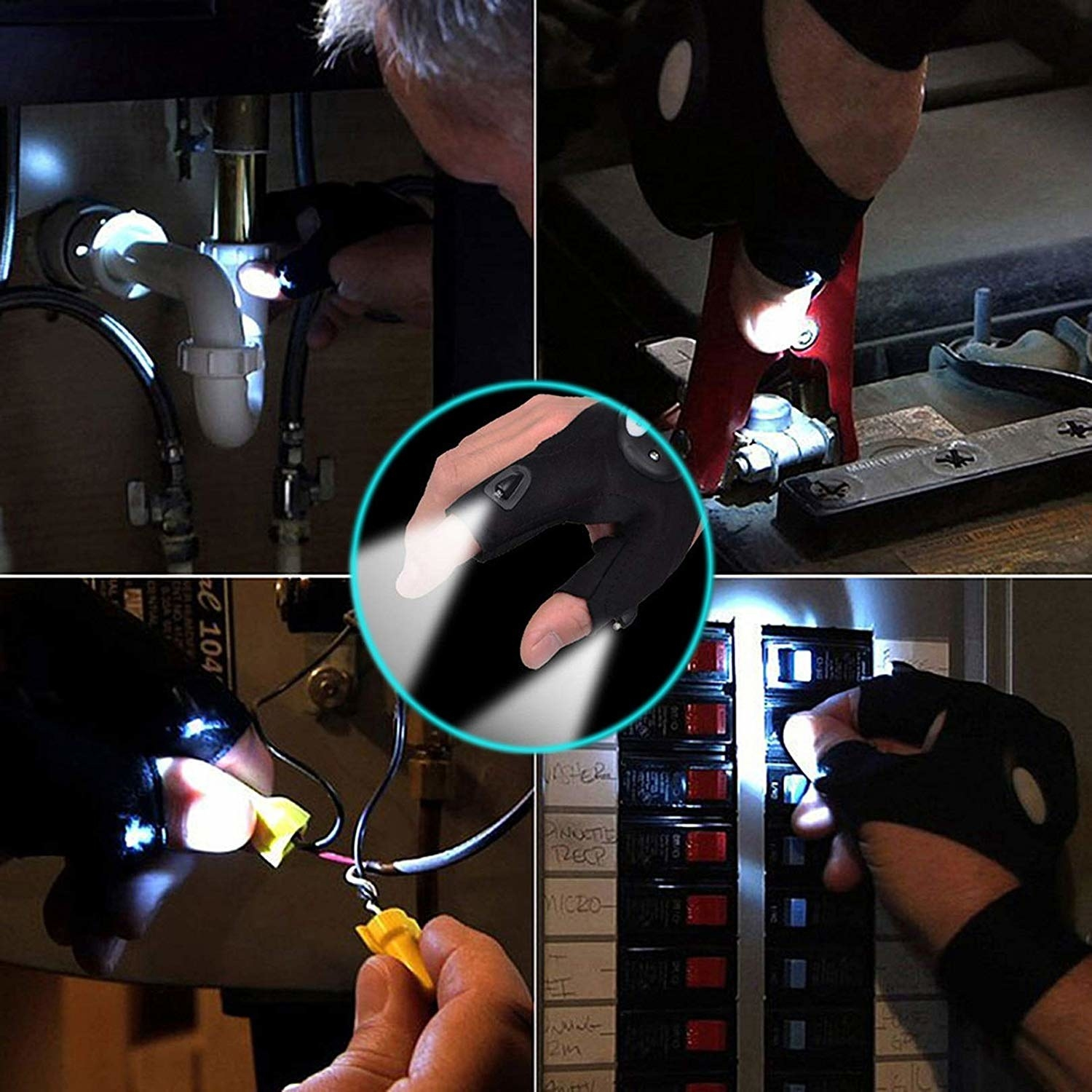 A divided photo showing different situations the light-up gloves can be used in; when working with pipes, breaker boxes, small wires, and while holding tools