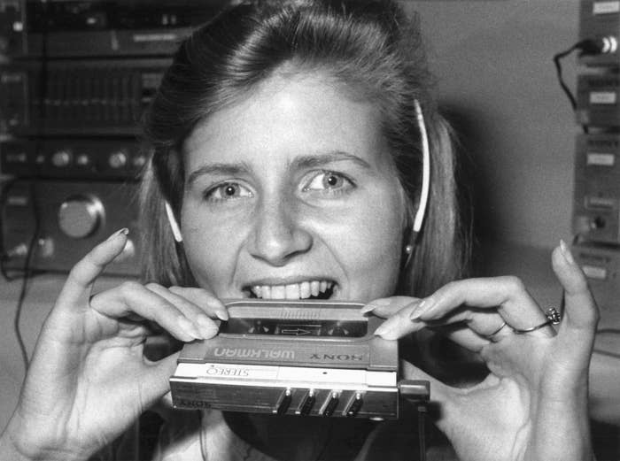 Sony debuts its latest Walkman model in 1983.