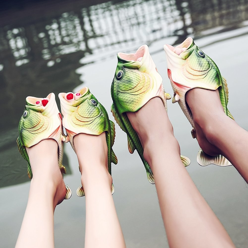 two models wear green bass slippers
