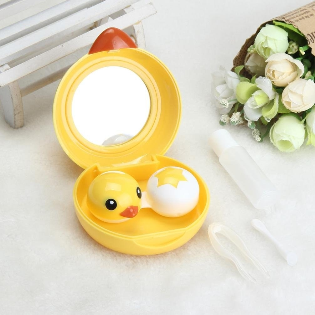 chick shaped case with chick and egg shaped contact lens case and mirror inside