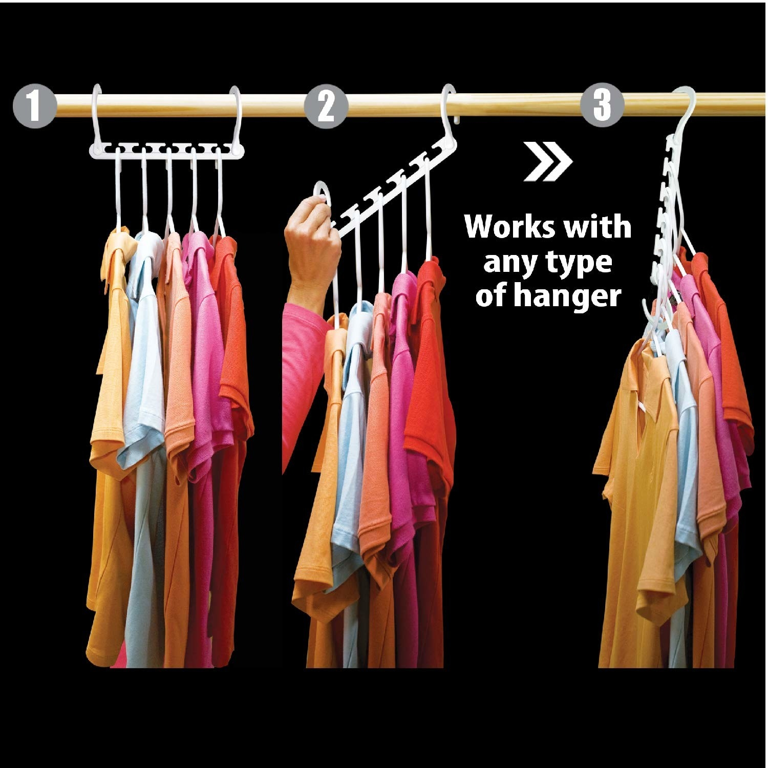 An image showing the steps how it hangs five hangers (any kind!) from the one wonder hanger
