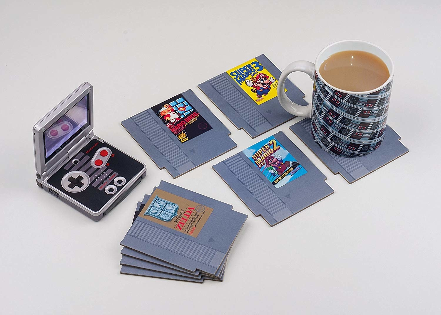 the coasters with a coffee mug