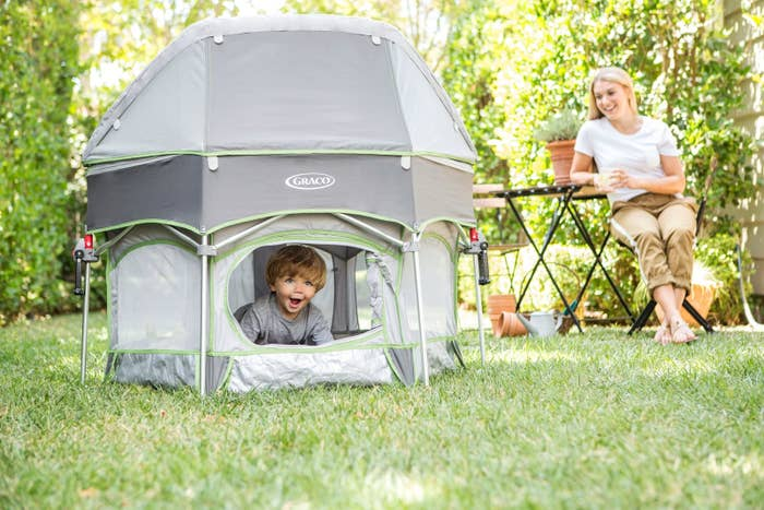 """FYI, you can take off the canopy and use it inside too!Promising review: """"This tent is so versatile! We love it at soccer games, camping, the beach and the backyard. It can be filled full of plastic balls for a ball pit or used as a portable crib. My older kids love to unzip the side pocket and climb in and out themselves. The sun shade is awesome! Baby necessity. Can be used from newborn on up."""" —Bargain ShopperGet it from Amazon for $213.36."""