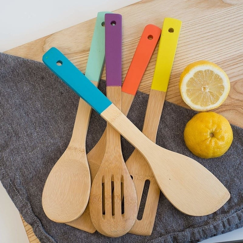 the wood utensils with colored handles