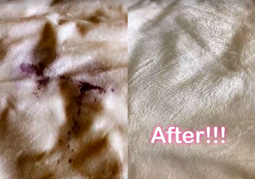 Reviewer's before and after with blanket stained in red wine and completely unstained after use