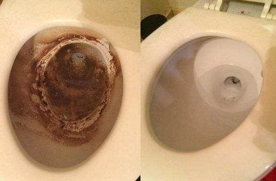 A reviewer's before/after with a brown, rusty looking toilet on the left and the same toilet completely clean on the right
