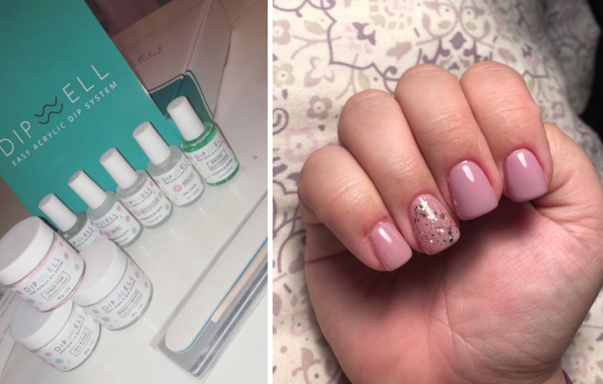 on left, the kit on a table. on right, reviewer's light pink powdered dip mani created with the same kit
