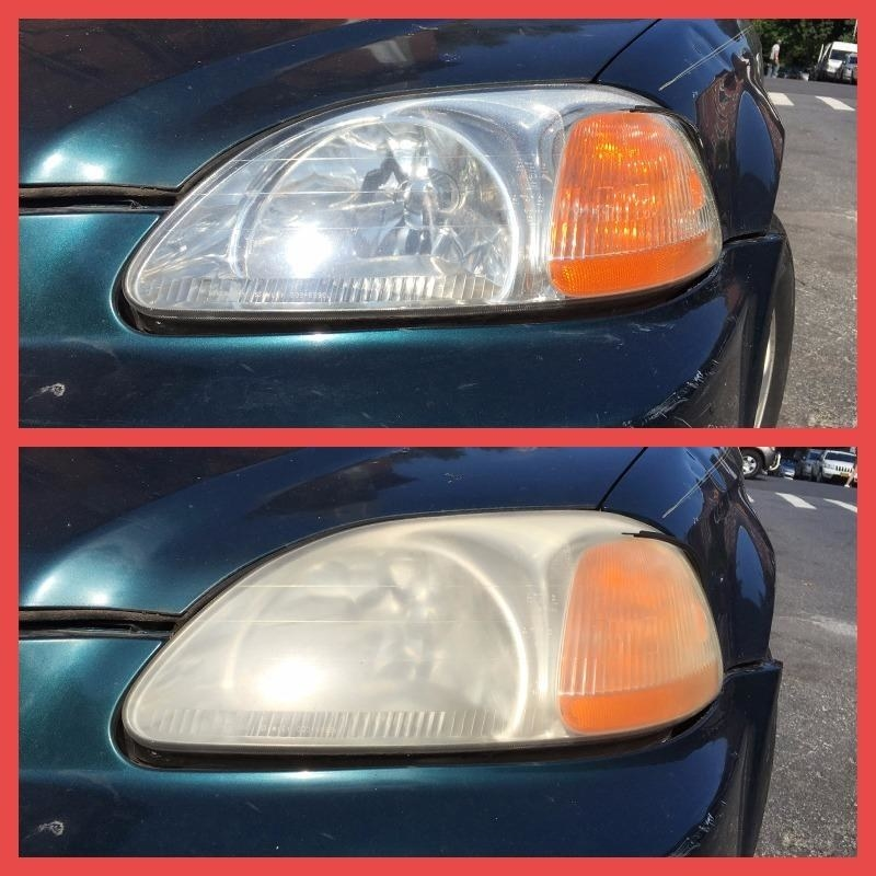 A reviewer's car: on the bottom with cloudy, yellowed headlight and on top with clear clean headlight