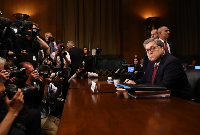 US Attorney General William Barr prepares for a Senate Judiciary Committee hearing in Washington, DC, May 1.