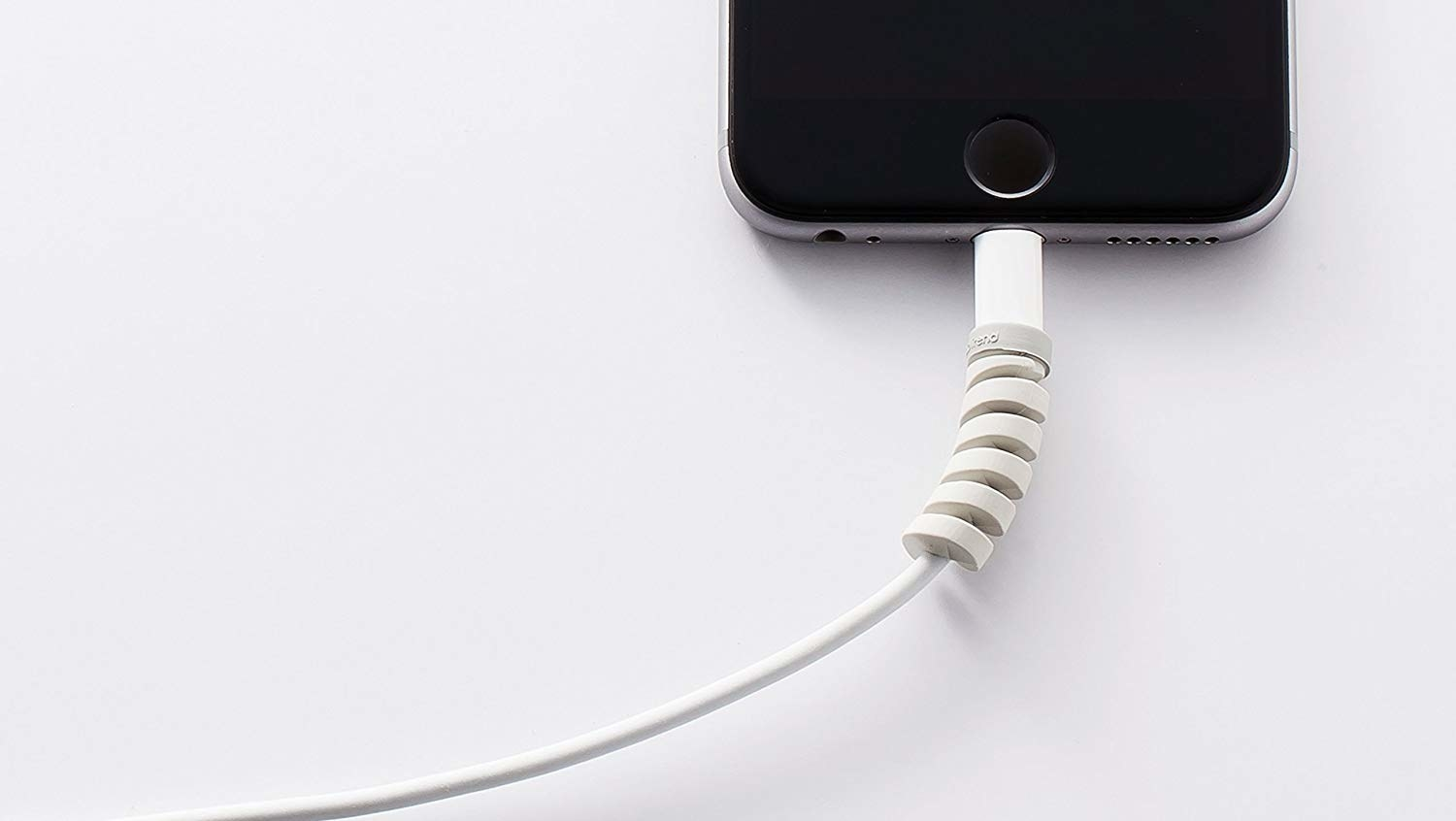 cord plugged into iphone with spiral protector over the top part
