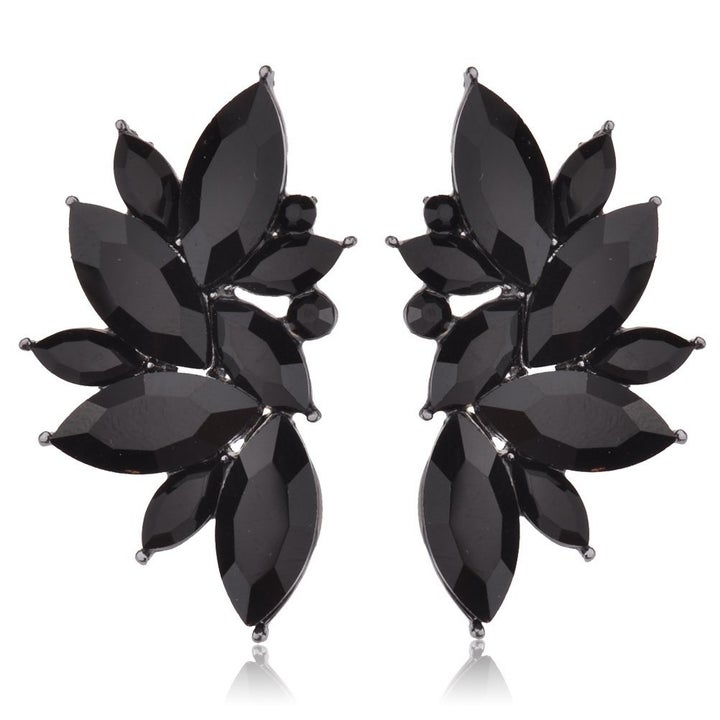 the almost wing-shaped earrings in black