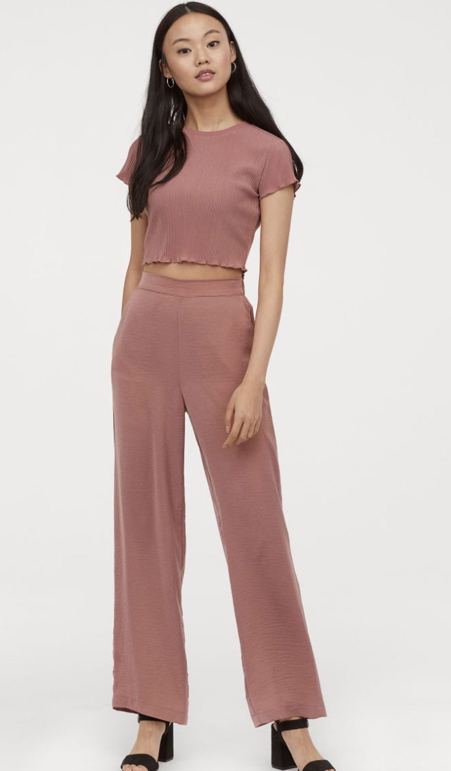 New Quiz Dusky Pink Wide Leg Baggy Loose Palazzo Trousers For Women UK 12
