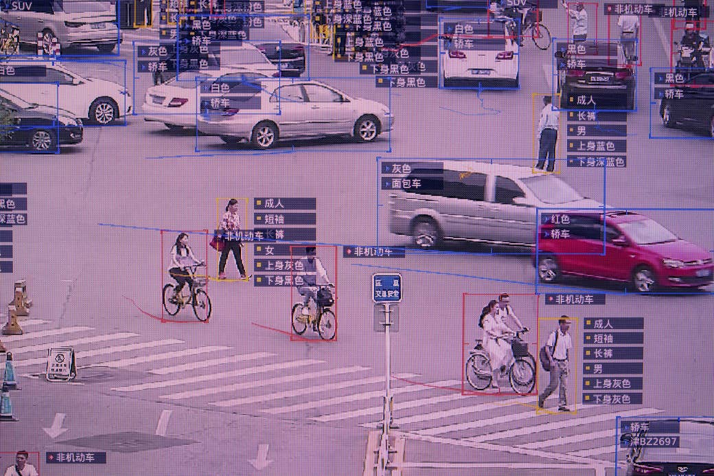 A screen shows a demonstration of SenseTime's SenseVideo pedestrian and vehicle recognition system at the company's showroom in Beijing on June 15, 2018.